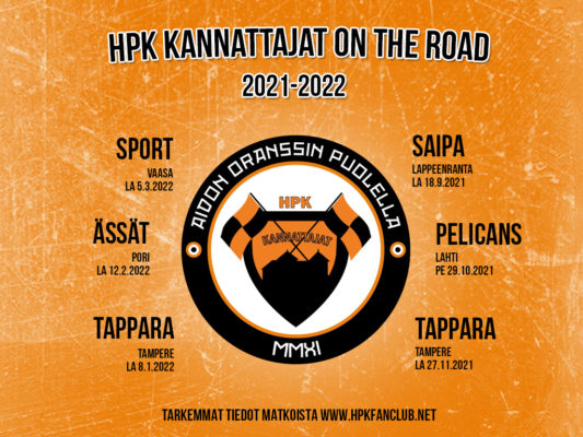 HPK vieraspelimatkat kaudella 2021-2022